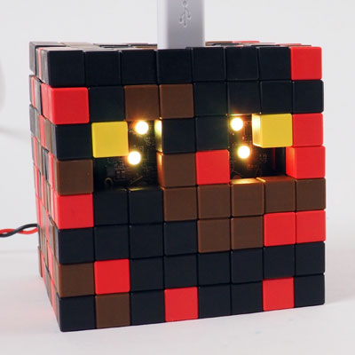 Minecraft Magma Cube made from Tiny Magnetic Blocks + LED lights (STEAM project for home and school)